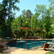Freeform pool with hardscaping Atlanta Georgia