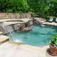Rectangular Pool with Waterfall Atlanta Georgia