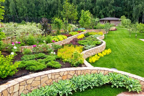 Landscape,Design,With,Flower,Beds,,Natural,Landscaping,Panorama,In,Home